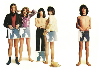 """APRIL 23:  Rock and roll band """"The Rolling Stones"""" pose for a portrait to promote the release of their album """"Sticky Fingers"""" by holding it strategically on April 23, 1971. (L-R) Charlie Watts, Mick Taylor, Bill Wyman, Keith Richards, Mick Jagger. (Photo by Michael Ochs Archives/Getty Images)"""
